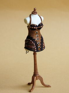 Steampunk corset, front, scale 1 : 12, suede, leather and lace, made by Will Werson.
