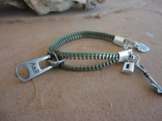 Lock and Key Zipper Bracelet by NickNackTreasureShac on Etsy