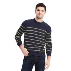 Brand New Banana Republic Men's Birdseye Pima Cotton Cashmere Pullover Color Navy Striped Polo Shirt, Banana Republic, Cashmere, Men Sweater, Brand New, Mens Fashion, Pullover, Long Sleeve, Sweaters