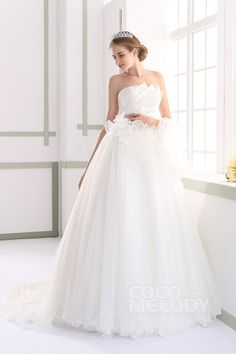 Dramatic A-line Strapless Natural Court Train Tulle and Satin Ivory Sleeveless Lace Up-Corset Wedding Dress with Appliques Beading and Sashes JWLT15010#cocomelody#weddingdresses#bridalgowns#