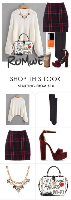 """""""Fall#2"""" by brownbounty ❤ liked on Polyvore featuring Wolford, Oasis, Steve Madden, WithChic, Dolce&Gabbana, Fall, contest, outfit and romwe"""