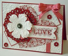Pretty Inky Paper Crafts: Mojo Monday Sketch Challenge 253. Love-stamping up Affection Collection, blossom punch, doily-sizzles, brads, ribbon