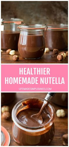 Soft Chocolate Sugar Cookies - Life Made Simple - Stuff I want to make - This healthier homemade Nutella is both easy and delicious. You'll be spreading it on absolutely - Easy Delicious Recipes, Delicious Desserts, Yummy Food, Healthy Recipes, Easy Recipes, Dinner Recipes, Healthy Snacks, Chocolate Sugar Cookies, Hazelnut Spread