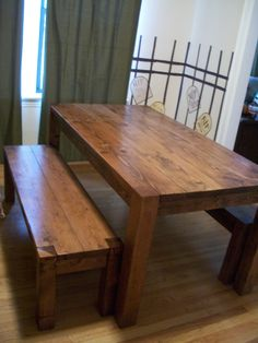 Rustic Elements Kitchen Table with Benches