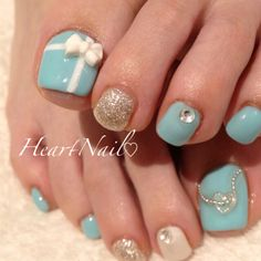 Pretty Pedicures, Pretty Toe Nails, Pretty Toes, Love Nails, My Nails, Gel Toe Nails, Feet Nails, Toe Nail Art, Tiffany Blue Nails