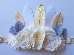 Gold Glitter Felt Feather Flower Crown- ready to ship / felt flowers / feather crown/ birthday crown/ photo prop