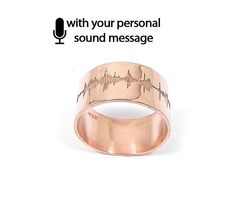 Sterling silver soundwave ring rose gold plated, sound wave ring, personalized waveform, heartbeat sonogram ultrasound - Ship by DHL EXPRESS