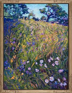 Abstract floral painting with lilac colors framed in a champagne Open Impressionism frame painted by impressionist Erin Hanson