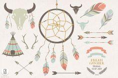 Dream catcher, buffalo skull, arrows by GrafikBoutique on Creative Market