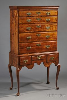 New England Queen Anne Tiger Maple High Chest of Drawers, late 18th century, brasses appear original, 69 H. x 36.5 D. x 19 D.