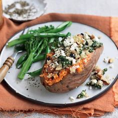 Sweet potato with quinoa, silverbeet, almonds and feta - Super delicious filling meal and super duper easy to cook