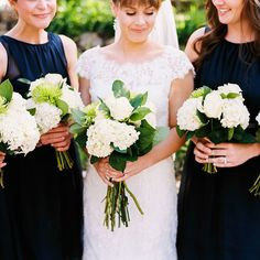 Brides.com: . Elegant bouquets comprised of hydrangeas, roses, and greenery.