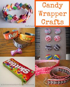 Crafts with Candy Wrappers More fun craft ideas --> http://www.sewmuchcraftiness.com