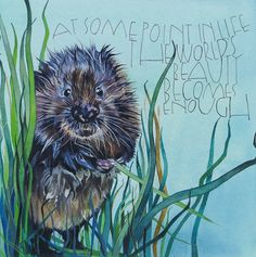At some point in life the worlds beauty becomes enough - Toni Morrison Water Vole - watercolours on watercolour paper