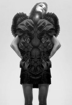 "Sculptural Fashion - symmetrical 3D armor-like structure with complex surface construction exploring the theme of mutant creatures; conceptual fashion design // Leyre Valiente, ""Chimaera"""