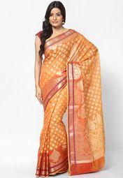 Supernet Cotton Fancy Contrast Zari Work Banarasi Rust Saree