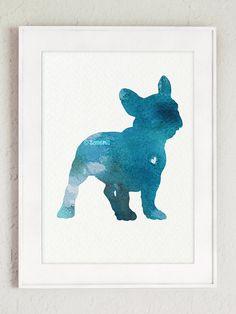 French bulldog silhouette Watercolor Art Print by Silhouetown #teal #frenchie #watercolor #silhouette