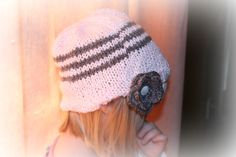 Knit Little girl slouchy hat soft pink with by MadeForYouCrafts, $20.00