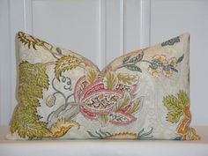 Decorative Pillow Cover - Floral - Jacobean - Accent Pillow - Euro Sham - Linen Pillow - Red - Pink - Aqua - Orange For Isa's bed. Different sizes avalable.