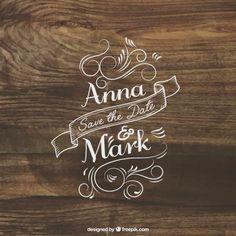 Letras de invitación de boda en la madera Vector Gratis