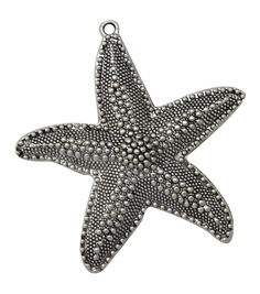 Silver embellishments 6/Pkg-Starfish #1