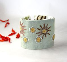 Hand Embroidery  Mint Daisies Embroidery Cuff by Waterrose on Etsy, $72.00