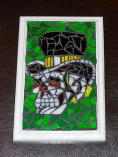 Skull Mosaic, recycled drawer front, glass