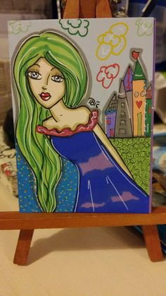 Artist Trading Card  #whimsical #cute #bigeyed #girl #princess #drawing #aceo #colors #promarkers #dream #fairytale