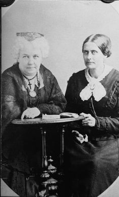 Susan B. Anthony and Elizabeth Cady Stanton,  American suffragettes Susan B. Anthony and Elizabeth Cady Stanton sit at a desk together, circa 1890s. Kean Collection