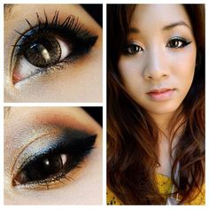 Black and Gold with classic cat-eye