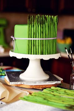 Fondant Asparagus Cake via Sweetapolita