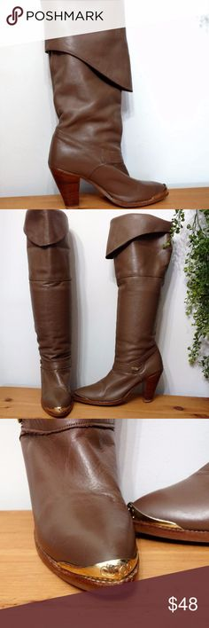 Dingo Boots!! 70s/80s Vintage Cowgirl Boots sz 7 Vintage Dingo boots!!  Size: 7 Brand: Dingo Material: Leather. Fabric Lining Condition: Fair - see photos Color: Light brown with Gold/Brass Tips The boots can be unfolded to reach over the knee or slouched down, folded for mid-calf or knee height  SUPER FAST same day or next business day shipping!! Dingo Shoes Heeled Boots