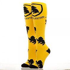 Amazon.com: Harry Potter Hufflepuff Logo Yellow Knee High Socks: Clothing