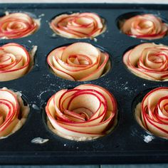 Rezept für kleine Apfelmuffins - Recipe for mini rose apple pies.