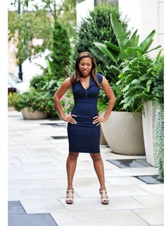 Navy is the new black. Atlanta lifestyle blogger, Eat.Drink.Shop.Love styles a French Connection Navy Blue Dress