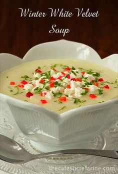 Winter White Velvet Soup - There are a ton of healthy veggies in this delicious soup. A quick blend with an immersion blender and you've got an elegant main course or beautiful appetizer soup | thecafesucrefarine.com