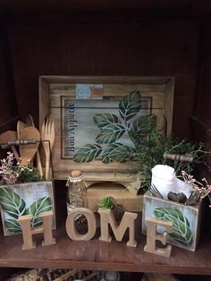 Country Paintings, Country Primitive, Wood Boxes, Stencils, Sweet Home, Table Decorations, Wall Art, Crafts, Diy