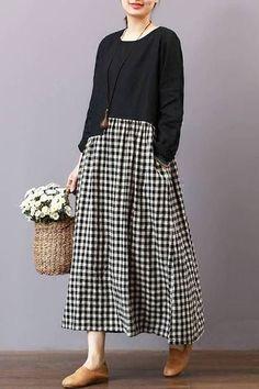 FantasyLinen Casual Loose Plaid Dress, Linen Literary Maxi Dress For Spring – Linen Dresses For Women Maxi Outfits, Outfits Casual, Spring Outfits, Casual Dresses, Fashion Outfits, Grunge Outfits, Blouse Dress, Plaid Dress, Boho Dress