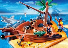 Playmobil Pirate Island Superset (4136) Lots of great construction fun with this Pirate Island playset! In the ship wreck, there is hidden treasure. Includes figures, a shark that floats and a shooting cannon. http://www.comparestoreprices.co.uk/childs-toys/playmobil-pirate-island-superset-4136-.asp
