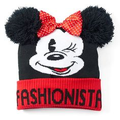 Adorable Minnie Beanie for the Fashionista!F Disney Accessories Hats Mickey Mouse Room, Minnie Mouse, Pom Pom Beanie Hat, Beanie Hats, Mickey And Friends, Winter Accessories, Disney Style, Crochet Hats, Disney Fashion