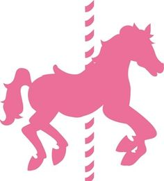 El caballo del carrusel Clipart Image: Pink carrusel de caballos en silueta