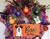 Halloween Deco Mesh Wreath  with Mickey Mouse Ghost