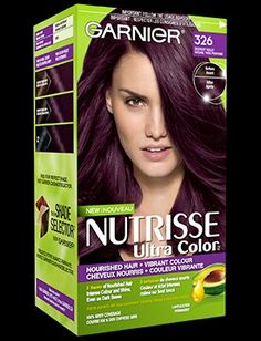 Garnier Nutrisse Ultra Color in 416 Intense Violet.Nourished hair vibrant color: - All For Hair Color Trending Burgendy Hair, Plum Hair, Dark Hair, Blonde Hair, Box Hair Dye, Dye My Hair, Violet Hair Colors, Hair Color Purple, Pelo Color Borgoña