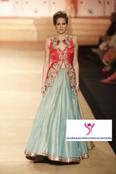 Exclusive Ashima Leena Pale Blue And Red Ramp  Lehenga buy at andaazcollectionscanada