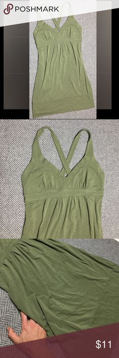 """Cute Green Gianni Bini Cross back dress, XS Good condition. Previously loved and washed, but no noted flaws. Brand tag is detached on one side, but can be easily reattached with a few stitches. Perfect for Spring/Summer! Color is army/sage green. 33"""" from top of shoulder strap to bottom hem. ✨ Check out my """"free with purchase"""" listings after you buy! Simply comment on the item you'd like, and I'll add it to your package! ✨ Gianni Bini Dresses"""