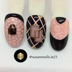 Nail art: 3D black and pink nail designs