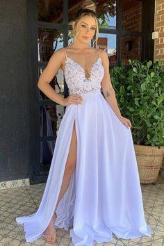 elegant lace plung neck wedding boho dresses side split bridal gown with spaghetti straps Slit Wedding Dress, Elegant Wedding Dress, Elegant Dresses, Wedding Dresses, Split Prom Dresses, Boho Dress, Bridal Gowns, Marie, Side Split