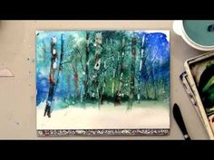 Watercolor Birch Trees for Card or Painting