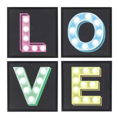 4 zwarte POP COLOUR Love verlichte houten lijst 50 x 50 cm
