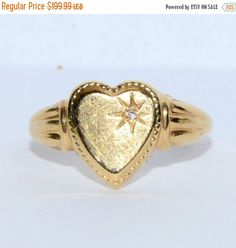 ON SALE Dainty PSCO Etched Heart Ring With by LadyLibertyGold